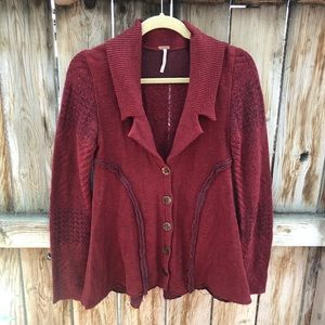 Free people cardigan burgundy buttons slit back S